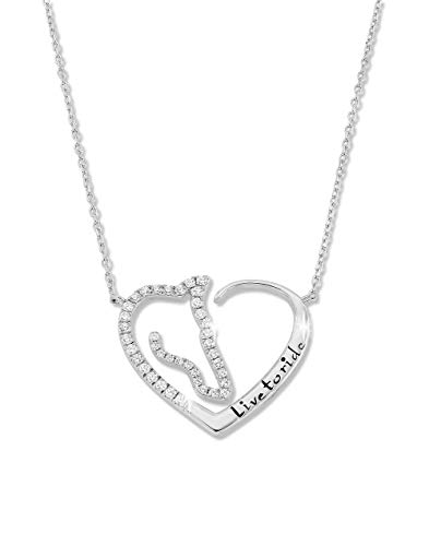 Horse Pendant Necklace Jewelry Sterling Silver and Zirconia Heart Charm Live To Ride Equestrian Silver Necklace Gift for Horse Lovers Girls and Women Silver