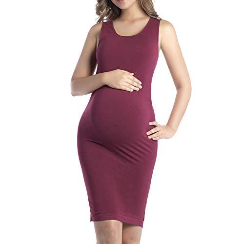 +MD Umstandskleid Knielange Schwangere Mutterschaft Kleider, Bambus Umstandskleidung für das tägliche Tragen BurgundyXL