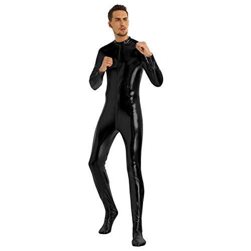 iiniim Mono Largo Brillo Hombre Body Ajustado Manga Larga Zentai Bodysuit de Cuerpo Entero Disfraz Adulto Halloween Carnaval Cosplay Maillot Fiesta Deporte