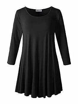LARACE Women 3/4 Sleeve Tunic Top Loose Fit Flare T-Shirt 1X Black