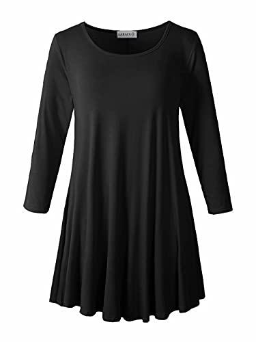 LARACE Women 3 4 Sleeve Tunic Top Loose Fit Flare T-Shirt(3X, Black)