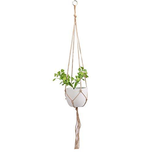 Demarkt Plantenhanger, macramé, bloempot, hangend, bloempot met katoenen koord, bloemenhanger, plantenhanger, voor binnen en buiten, plafond, balkon, wanddecoratie E 90 cm.