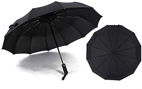 JIUJ Taschenschirm Dreifach Automatische Regenschirm Business Regenschirm Werbung Regenschirm Schwarzen Kleber Sonnenschirm Twelve Bones schwarz