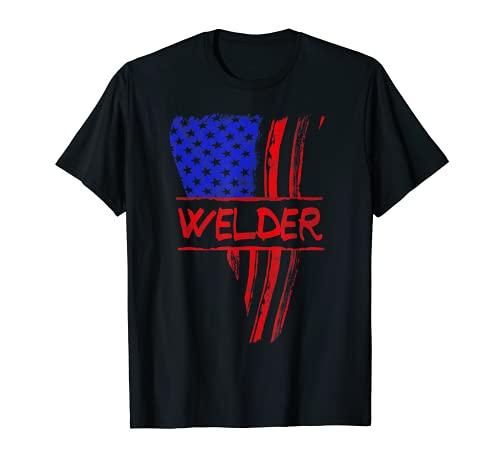 Welder American Flag Welding Gift Triangular Usa Patriotic T-Shirt