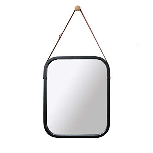 JKCKHA Espejo de baño Pared nórdica Negro Que cuelga del Espejo del pequeño Cuadrado de Espejo Colgante 33x40.5cm