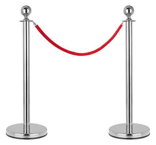 Stagecaptain PLS-150 Deluxe 2.1-150S Absperrständer Personenleitsystem - 2 Edelstahl-Stative und 1 rotes Seil mit 1,5m Länge - Für Konzerte, Ausstellungen, Hotels, Kinos u.v.m. - silber