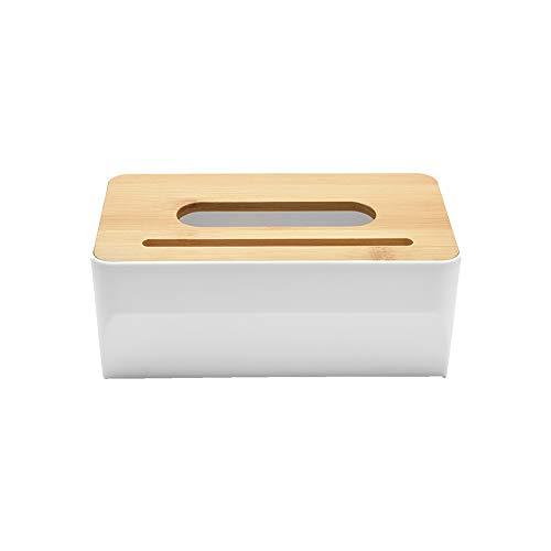 セール Yeation ティッシュケース ティッシュボックス 竹製蓋 収納ボックス 卓上収納 小物入れ トイレ ペーパー 収納 ロールペーパー ボックス スマホスタンド 多機能 (方形タイプ)