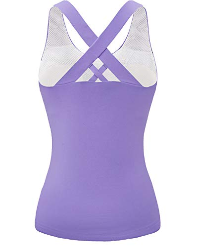 Tank Tops for Women Plus Size Yoga Racerback Tank Top for Women with Built in Bra Lavender XL