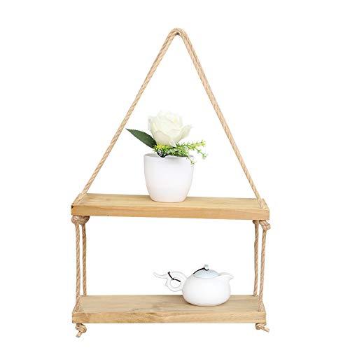 Inmozata estantes flotantes con estante de cuerda para colgar en la pared, estante de pared para sala de estar o dormitorio, madera, 2 niveles