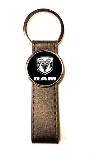 Sleutelhanger staal/kunstleer Classic Circle Dodge RAM zwart