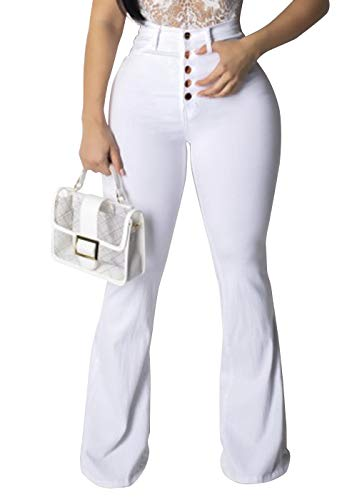 Pofash Women's Bell Bottom Flare Raw Hem Jeans Denim Pants with Buttons Down White Small