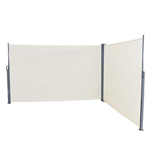 LZQ Seitenmarkise Sichtschutz Sonnenschutz Windschutz, Markisenstoff aus Polyester für Terrasse Camping seitlicher Windschutz (180x600cm, Beige)