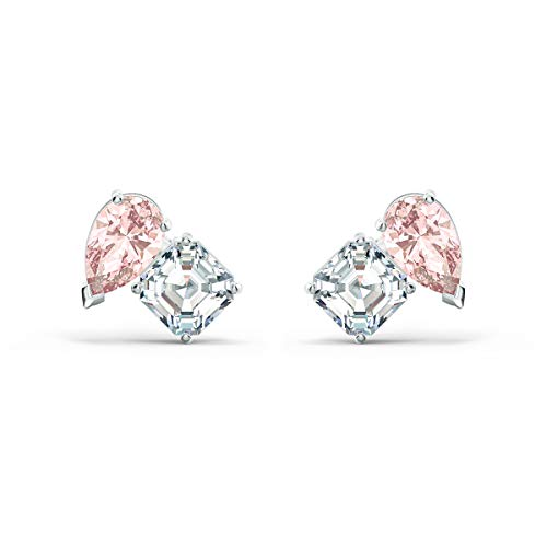 Swarovski Attract Soul Stud Earrings with Pink and White Crystals and Rhodium Plated Metal, a Part of the Attract Soul Collection