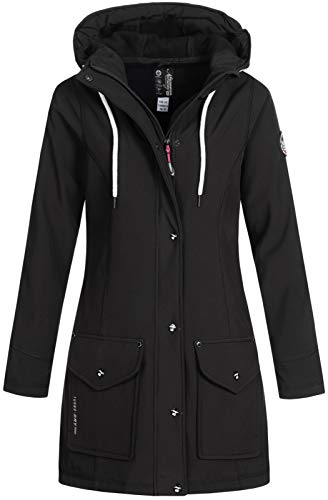 Geographical Norway Damen Jacke Softshell Kurzmantel Tanaria mit Kapuze Black M