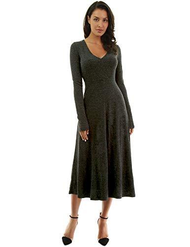PattyBoutik Women V Neck Long Sleeve Midi Dress (Dark Heather Gray Small)