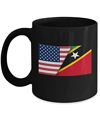 Kaffeetasse mit USA-Flagge Saint Kitts Nevis, 325 ml, Schwarz