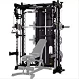 Commercial Home Gym - Smith Machine, Cables with Built in 160 kg Weights (Standard Black)