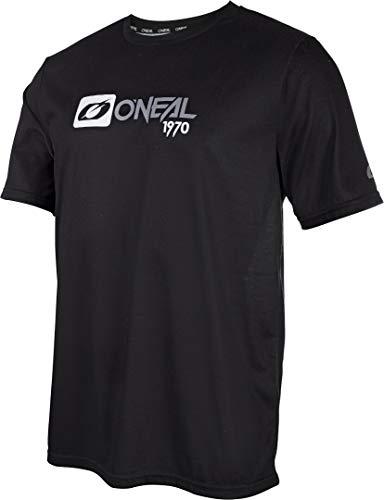 O'NEAL | Mountainbike-Shirt | MTB Mountainbike DH Downhill FR Freeride | Atmungsaktives Material, Schnell trocknend, antibakteriell | Slickrock Jersey | Erwachsene | Schwarz Grau | Größe S