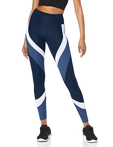 Amazon-Marke: AURIQUE Damen Colour Block-Sportleggings, Blau (Dress Blue/White/Gray Blue), XS
