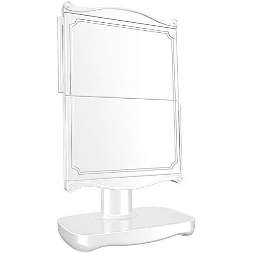 Espejo Maquillaje Espejo Tocador con Luces, 1x/2x/3x Aumento Espejos Cosméticos Plegables iluminados por LED, Interruptor de Control Táctil Regulable de 3 Colores, Fuente de Alimentación Dual