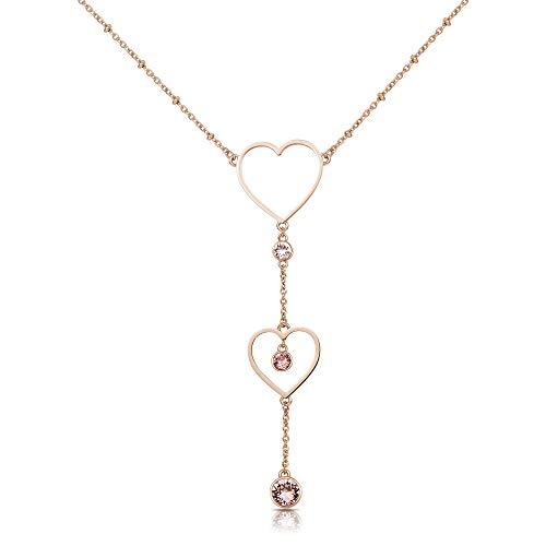 Brosway Collana Donna Sight in Acciaio Oro Rosa con Cuori e Cristalli Rosa BGH02