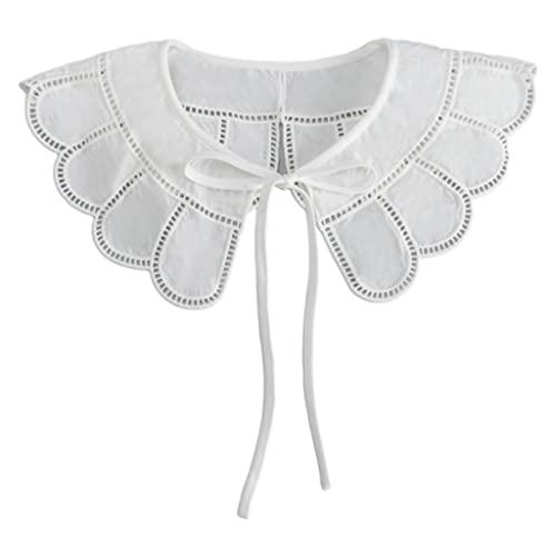 SKROWHN Mujeres Encaje- up Bowknot Falso Falso Collar Hueco hacia Fuera Jacquard Petal Big Shad Wrap Wrap Decorative Necklace Capelet (Color : White, Size : One Size)