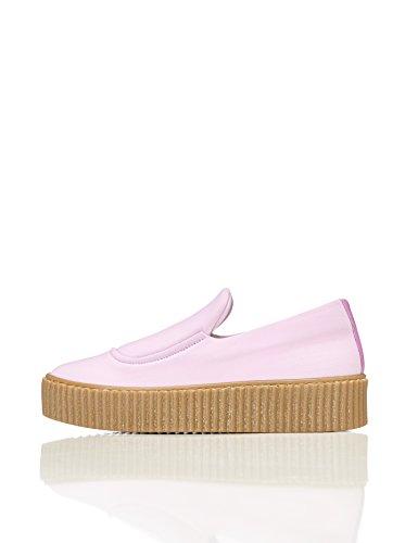 find. Plateau Schuhe Damen Slipper mit gerippter Sohle und dekorativer Naht, Pink, 40 EU