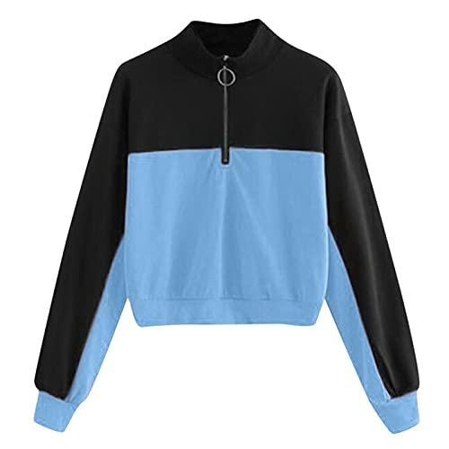 WAo Sudadera con media cremallera para mujer, manga larga, remiendo y camiseta de jersey para otoño e invierno, azul, XL