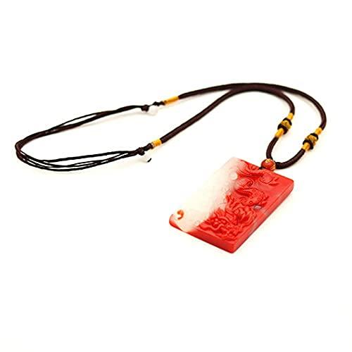 Revilium Collar con Colgante De Dragón De Piedra De Jade Hetian Blanco Rojo Natural, Joyería De Jadeíta China, Amuleto Tallado para Mujeres Y Hombres
