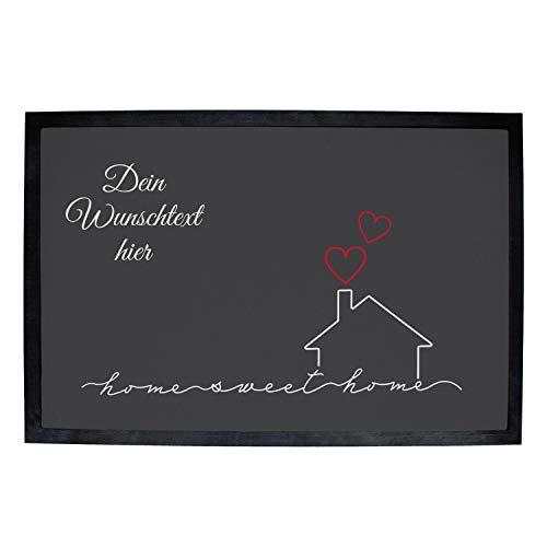 Fußmatte mit Name zum selbst gestalten, Schmutzfang mit Sweet Home Design, Rutschfester Teppich für Haustüre oder Innenbereich (Motiv 5)