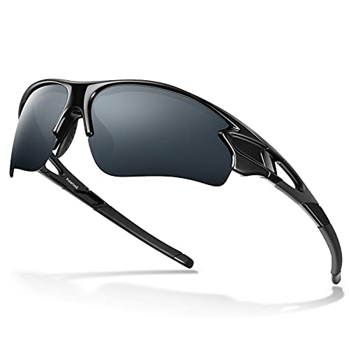 Gafas de Sol Polarizadas - Bea·CooL Gafas de Sol Deportivas Unisex Protección UV con Monturas Ligeras para Esquiando Ciclismo Carrera Surf Golf Conduciendo (Brillante negro)