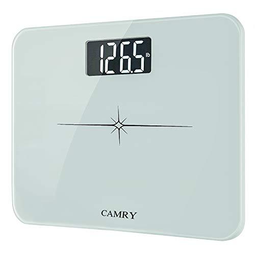 CAMRY Bilancia pesapersone digitale con Display retroilluminato, Piattaforma in vetro temperato e Sistema Step-On, Portata max. 180 Kg/400 lb(Bianco)