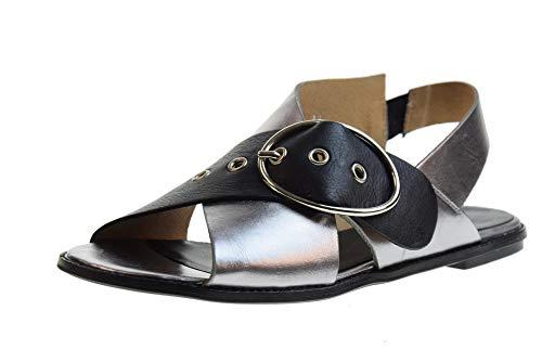 poesie veneziane scarpe POESIE VENEZIANE Scarpe Donna Sandali Bassi 2312 Acciaio/Nero Taglia 36 Acciaio-Nero