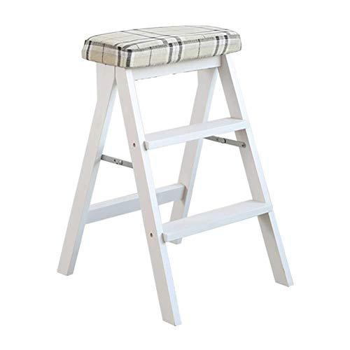 ZfgG 3-staps Kruk Wit Houten Keuken Thuis Ladder Volwassen Hoge Kruk Vouwen Multifunctionele Stap Kruk