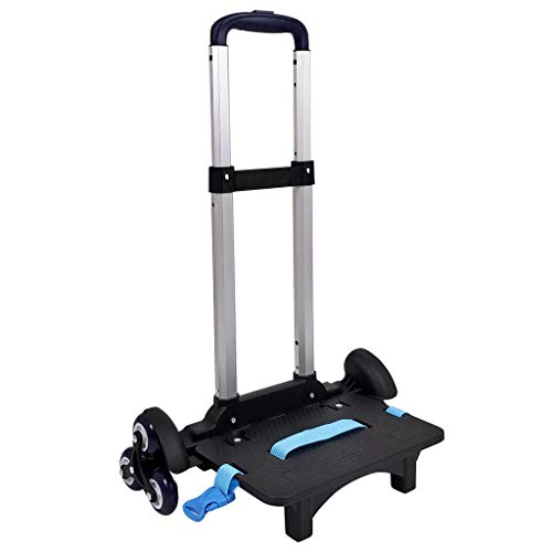 Backpack Trolley - Wheeled Trolley Hand Aluminium Alloy Folding Trolley Cart for Backpack (Blue 6 Wheels Improved Version)