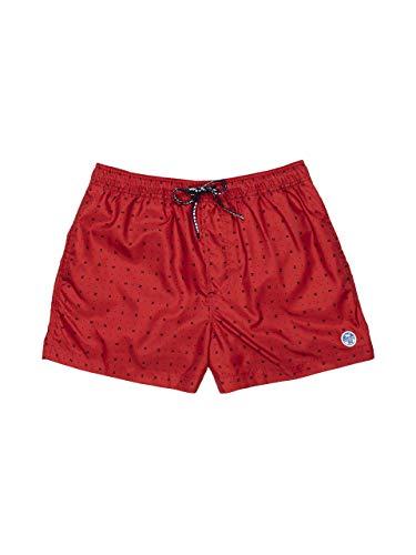 NORTH SAILS Pantaloncini Corti di Nuotata degli Uomo in Rosso - Riciclato Regolare Adatto con Elasticizzato Coulisse in Vita e Tasche Laterali - 38