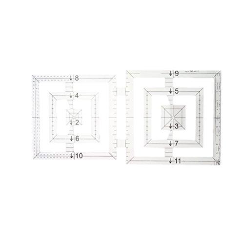 healifty regla de modelo Quilting de doble cuadrado DIY regla de patchwork acrílico costura para accesorios