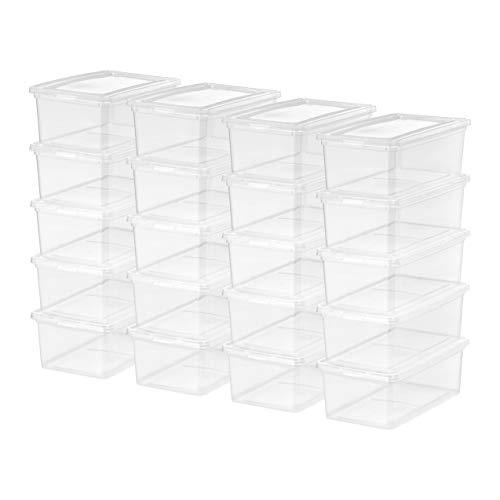 Mainstays 5 Quart Shoe Box Storage, Clear, 20 Pack