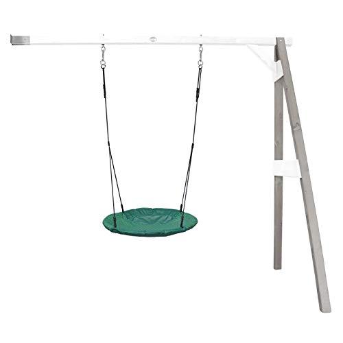 Beauty.Scouts Nest-Anbauschaukel Rake I Nestschaukel Hemlock Holz grau-weiß 160x244x207cm Schaukel Hängeschaukel Gartenschaukel Schaukelgerüst Kinder Nestchen