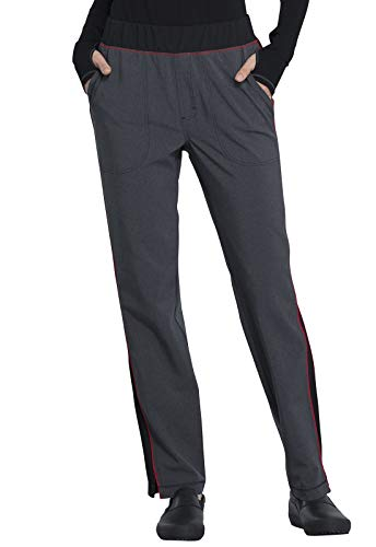 CHEROKEE Infinity CK125A Women's Mid Rise Tapered Leg Pull-on Pant (Heather Charcoal, Medium)