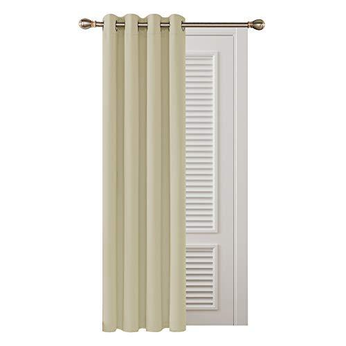 Deconovo Cortinas Opacas de Salón Dormitorio Moderno Aislantes Térmicas de Color Liso 1 Pieza con Ojales 132 x 242 cm Beige Oscuro