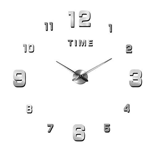 Orologio da Parete Silenzioso Preciso Fai da Te, Orologio Parete Moderno Decorazione, Grande Orologio da Parete 3D Adesivo Home Office Decor Regalo (Dimensioni 90 cm – 120 cm autoadattamento)Argento