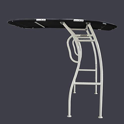 Dolphin Pro2 T-TOP Center Console Fishing Boat Tower Bimini Canopy, Marine Anodized Aluminum, Collapsible TTOP, Centre Fold Down Shade Roof (White Powder Coat - Black Canopy)