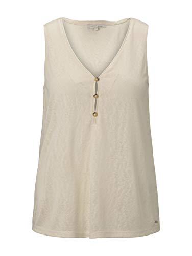 TOM TAILOR Denim Damen Fluent Knopfdetail T-Shirt, 22515-soft Creme beige, L