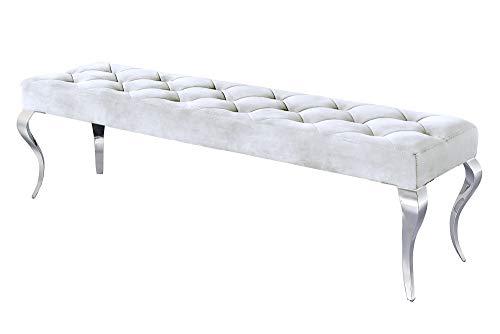 DuNord Design Sitzbank Silber Barock Samt Edelstahl modern 170cm