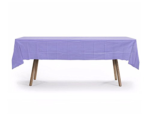 12 CT Premuim 54x108 inch Rectangle Plastic Tablecloth Waterproof Disposable Party Event Decoration Heavy Duty Table Cover(Lavender)