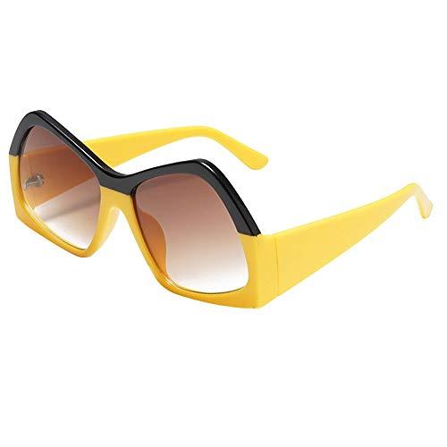 ZEZKT gafas de sol retro para hombre y mujer protección de radiación unisex sunglasses moda casual elegante gafas Amarillo 15