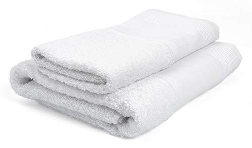 Ago.fil S.r.l. - Lot de 2 Serviettes (1 + 1) à Broder, 100 % Coton, Blanc 60 x 105 – 40 x 60 cm
