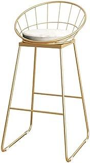QTQZDD Barstool Bar Chair Fashion Wrought Iron Metal Bracket Bar Stool Kitchen Breakfast Stool Chair with Backrest Sponge Pad Design (Sitting Height: 75CM) Dining Chairs