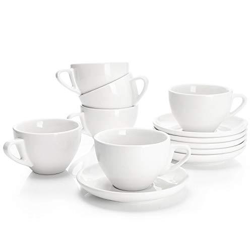 Sweese 402.001 6-teilig Cappuccinotassen Set aus Porzellan, Dickwandige Kaffeetassen mit Untertasse, Weiß Serie, 180 ml